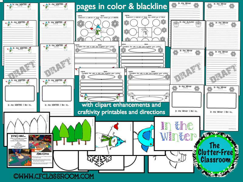 These winter writing prompts, graphic organizers, and a snowman craftivity make great bulletin boards for first, second, third, and fourth grade students. If you need ideas for kids projects or activities to use in winter writing centers, you will love these keepsake portfolios.