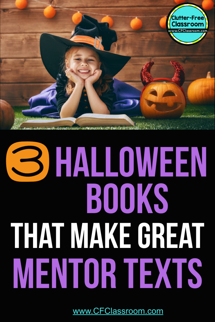 girl reading a Halloween book dressed as a witch