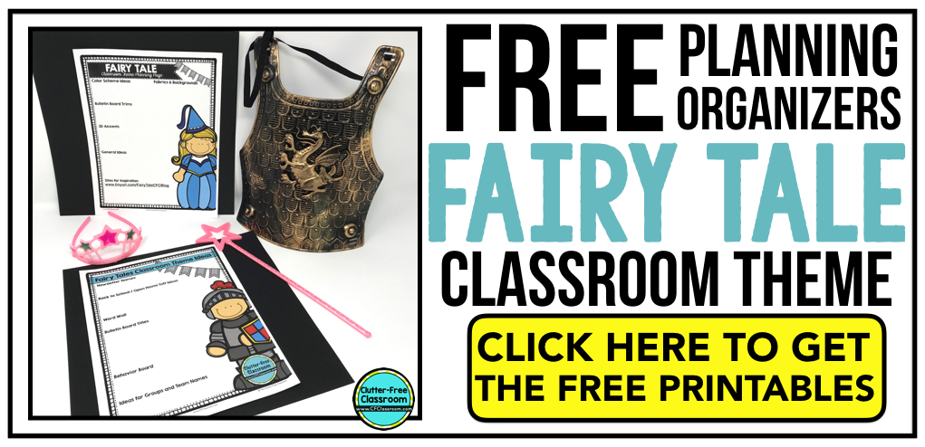 FAIRY TALE Theme Classroom: If you're an elementary teacher who is thinking about a castle, medieval, or fairy tale theme then this classroom decor blog post is for you. It'll make decorating for back to school fun and easy. It's full of photos, tips, ideas, and free printables to plan and organize how you will set up your classroom and decorate your bulletin boards for the first day of school and beyond.
