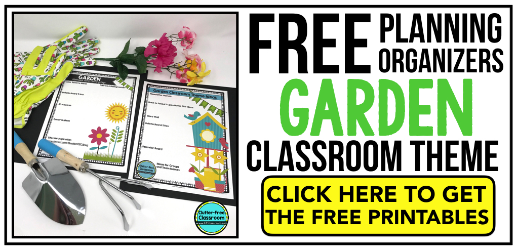 """""""GARDEN Theme Classroom: If you're an elementary teacher who is thinking about a garden or flowers theme then this classroom decor blog post is for you. It'll make decorating for back to school fun and easy. It's full of photos, tips, ideas, and free printables to plan and organize how you will set up your classroom and decorate your bulletin boards for the first day of school and beyond.  """""""