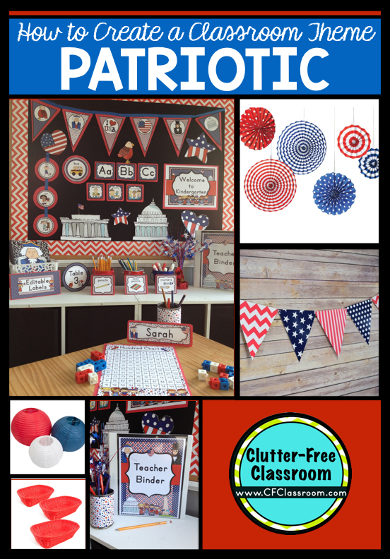 Are you planning a patriotic themed classroom or thematic unit? This blog post provides great decoration tips and ideas for the best patriotic theme yet! It has photos, ideas, supplies & printable classroom decor to will make set up easy and affordable. You can create a patriotic theme on a budget!