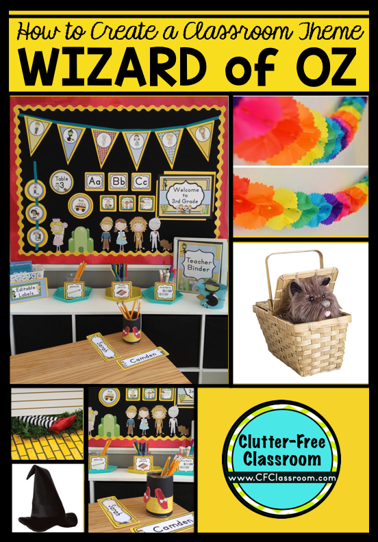 Are you planning a Wizard of Oz themed classroom or thematic unit? This blog post provides great decoration tips and ideas for the best Wizard of Oz theme yet! It has photos, ideas, supplies & printable classroom decor to will make set up easy and affordable. You can create a Wizard of Oz theme on a budget!