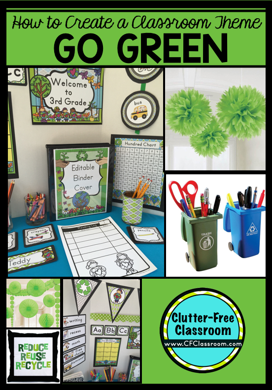 Are you planning a recycling themed classroom or thematic unit? This blog post provides great decoration tips and ideas for the best recycling theme yet! It has photos, ideas, supplies & printable classroom decor to will make set up easy and affordable. You can create a recycling theme on a budget!