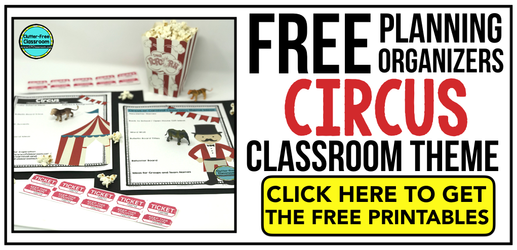 CIRCUS Theme Classroom: If you're an elementary teacher who is thinking about a CIRCUS or CARNIVAL theme then this classroom decor blog post is for you. It'll make decorating for back to school fun and easy. It's full of photos, tips, ideas, and free printables to plan and organize how you will set up your classroom and decorate your bulletin boards for the first day of school and beyond.