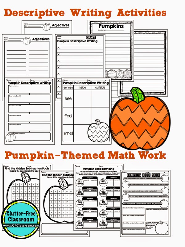 Click through for FREE pumpkin math activities and October ideas for kids. These no prep printables and worksheets are perfect for Halloween or any other day in October. The ideas found here have been used in centers as well as in small groups with 4th grade, 3rd grade, and 2nd grade students.