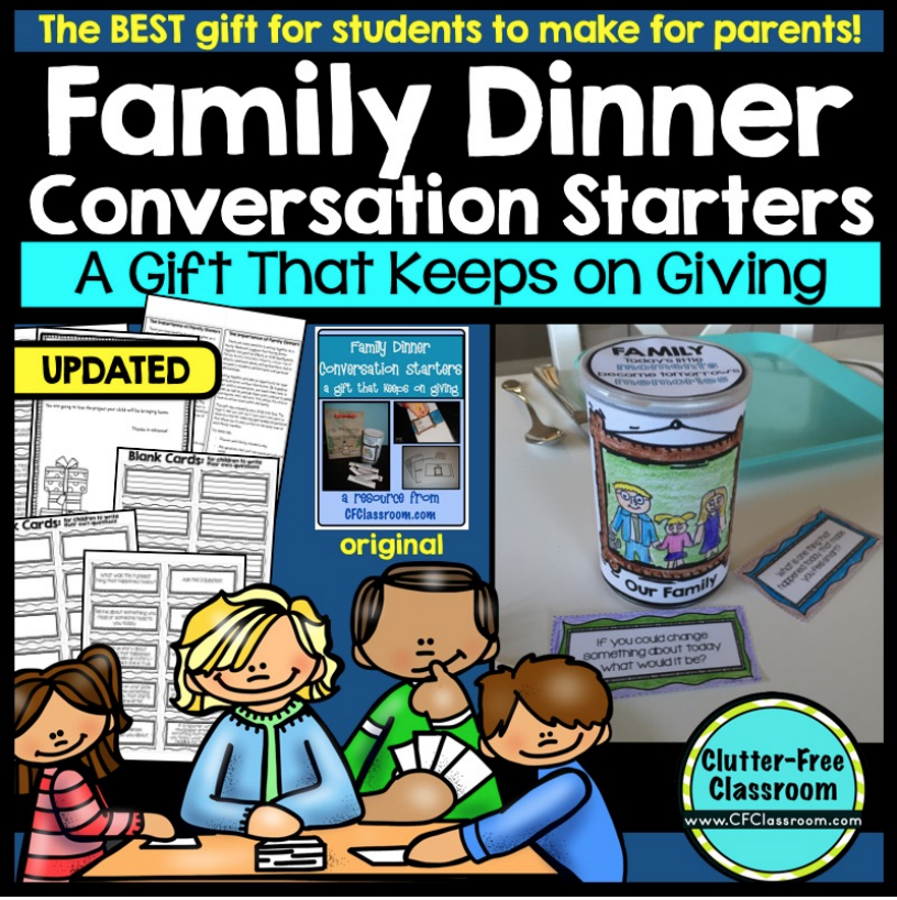 CHRISTMAS GIFTS STUDENTS MAKE FOR PARENTS Kids in school often make holiday presents for their families. This creative and useful Dinner Conversation Starter gets makes those student-made gifts useful. Moms, dads, grandparents and other family members love this quick, simple, and creative keepsake and teachers enjoy having something so cheap and easy to make that is truly meaningful. If you are tired of handprint crafts and want new ideas this is the post for you. They are also perfect for Mothers Day, Fathers Day, Grandparents Day and as gifts for parent volunteers at the end of the year.