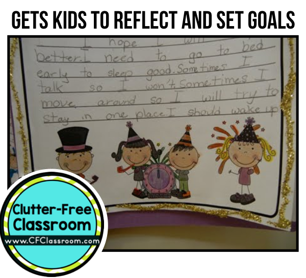 New Years activities are a great way for kids to reflect on the past year and set goals for the year ahead. Many teachers at the elementary level focus on developing a growth mindset and goal setting ties in perfectly with that. This post shares a New Years writing and craft activity that I did as a bulletin board in my own classroom.