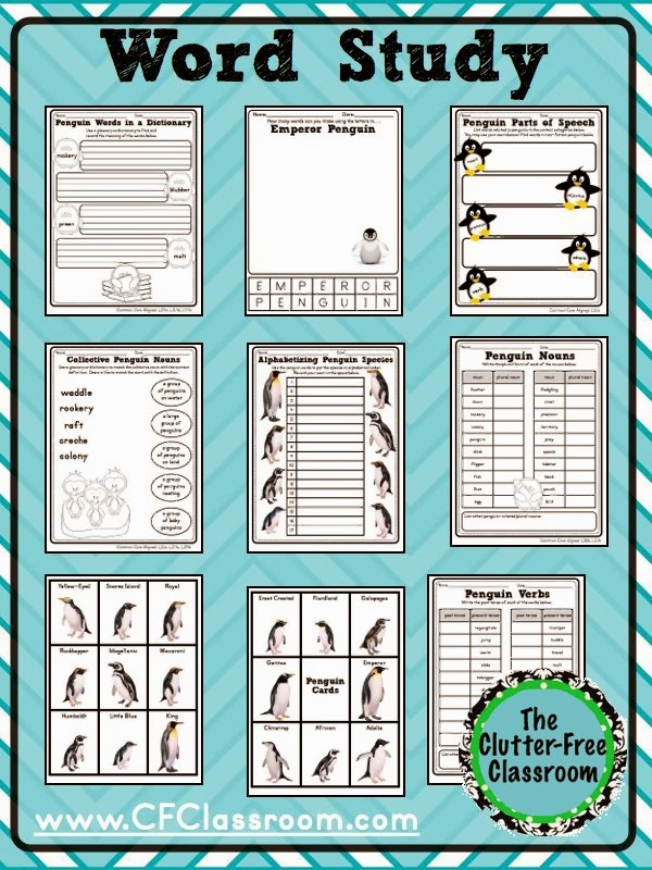A penguin unit study integrates reading books, animal research, writing reports, science and more. Kids love learning penguin facts and teachers love the easy lesson plans, cute bulletin boards, hands on projects, and printables from Clutter Free Classroom. The bundle includes graphic organizers, anchor charts, book lists, science ideas, word study, math centers and games, and more.