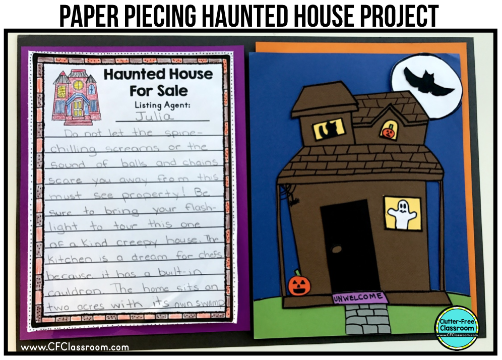 The Haunted House for Sale Writing Project makes a great October writing activity.  Lessons, prompts, printables, and craft ideas are shared in this post.