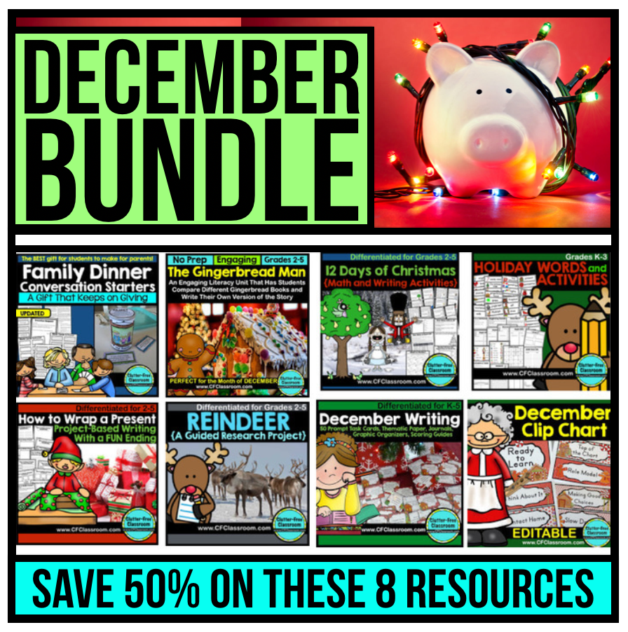 This bundle of December activities from Clutter Free Classroom includes 8 holiday activity resources for 1st, 2nd, 3rd, 4th and 5th grade students. Most are no prep and all are engaging and fun. If you need ideas for Christmas, Gingerbread, and more check this out!