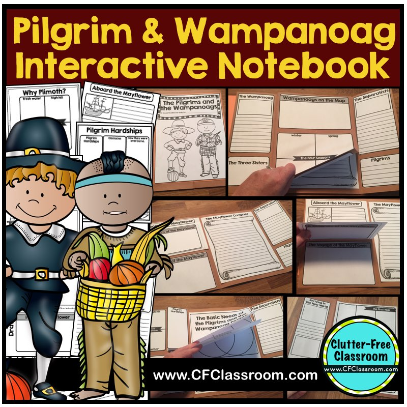 These Pilgrim & Wampanoag Native American Indians activities, free printables, & a list of First Thanksgiving books for kids will give first grade, second grade & third grade teachers ideas for social studies lessons, crafts & art projects.The facts for teachers, writing prompts, read alouds, interactive notebooks, lapbooks, & bulletin board displays are perfect for fourth grade, fifth grade, & homeschool curriculum too.There is more to Plymouth colony than pilgrim hats & the Mayflower.