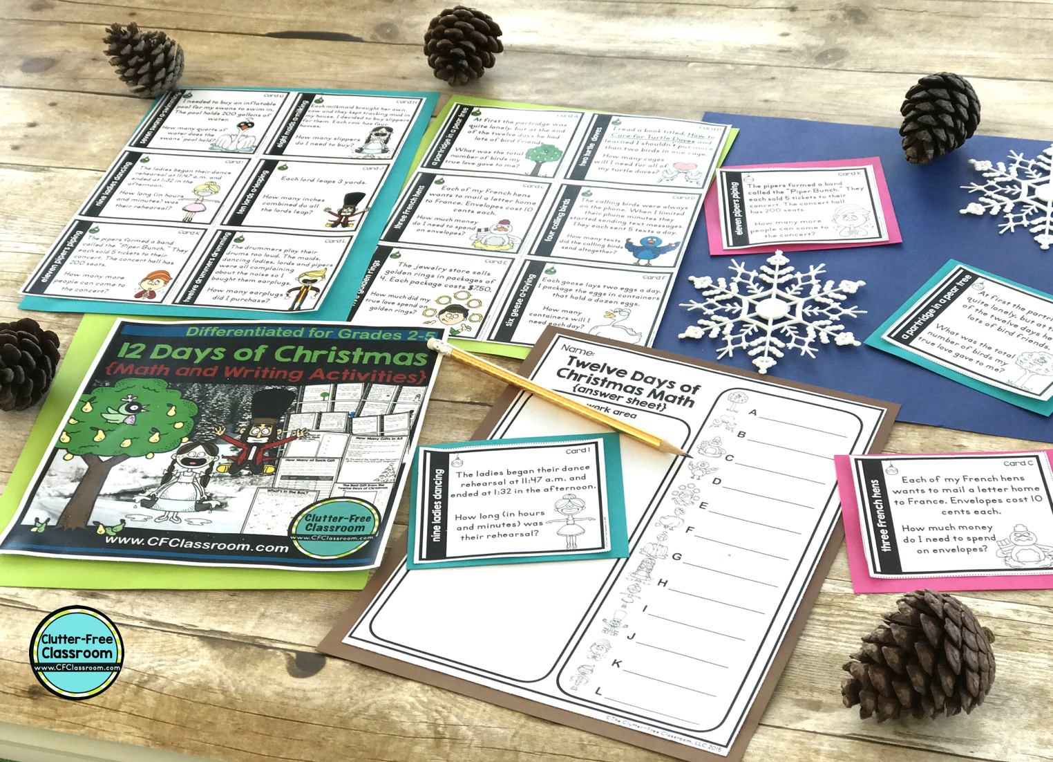 Take a look at these Christmas math and writing activities from the Clutter Free Classroom. These holiday math centers, games, worksheets, task cards, activities and enrichment are so fun! Each is based on the song The Twelve Days of Christmas and offers no prep review and practice of skills around the holidays. #Christmasmathactivities #Christmaswritingactivities #The12daysofChristmas #Decembermathactivites #Decemberwritingactivities #clutterfreeclassroom #cfclassroom