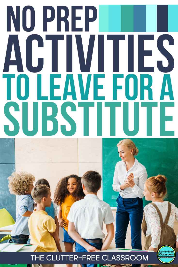 I just got the best resource from The Clutter-free Classroom! It is a whole bundle of lessons and activities to leave as sub plans. There are games and worksheets for math, writing, and reading. Directions are included on everything making it easy for students and a substitute to understand. This will be awesome the next time I need a sick day. You should download this too! #elementaryteaching #sickday #subplans