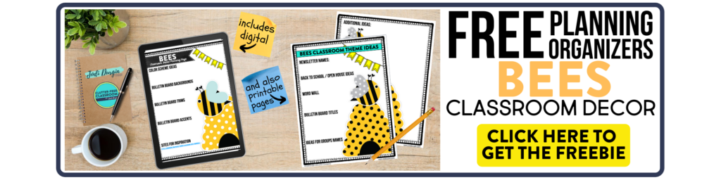 free printable planning organizers for bee classroom theme on a desk