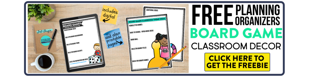 free printable planning organizers for board game classroom theme on a desk
