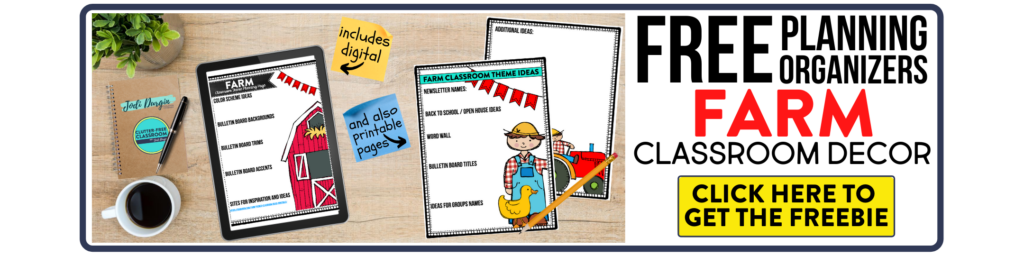 free printable planning organizers for farm classroom theme on a desk