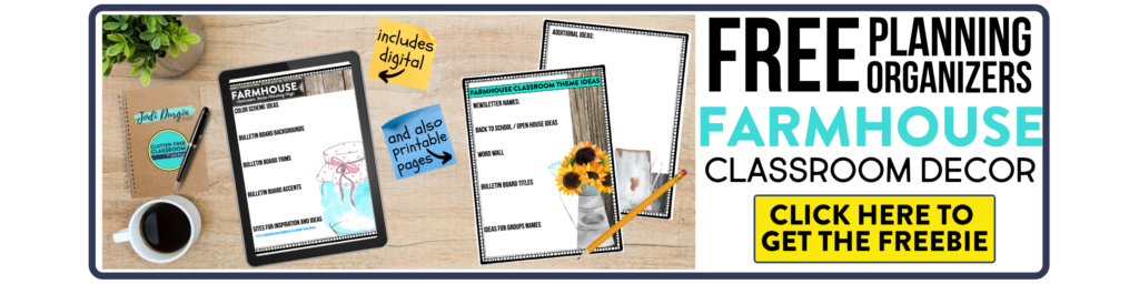 free printable planning organizers for farmhouse classroom theme on a desk