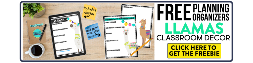 free printable planning organizers for llama classroom theme on a desk