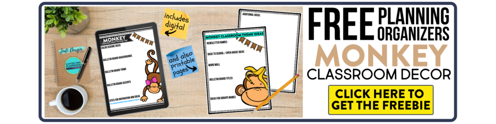 free printable planning organizers for monkey classroom theme on a desk