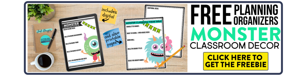 free printable planning organizers for monster classroom theme on a desk