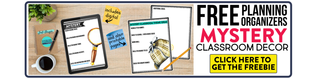 free printable planning organizers for mystery classroom theme on a desk