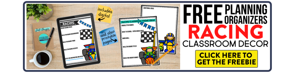 free printable planning organizers for racing classroom theme on a desk