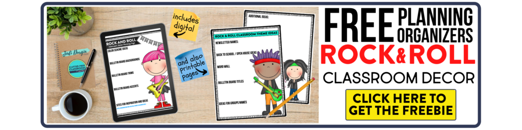 free printable planning organizers for rock and roll classroom theme on a desk