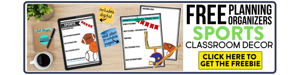 free printable planning organizers for sports classroom theme on a desk