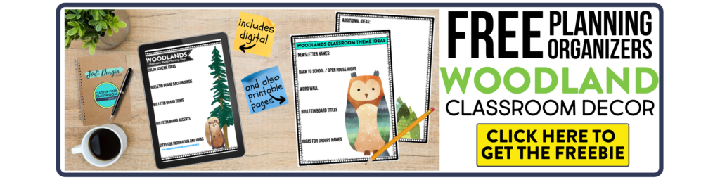 free printable planning organizers for woodland classroom theme on a desk