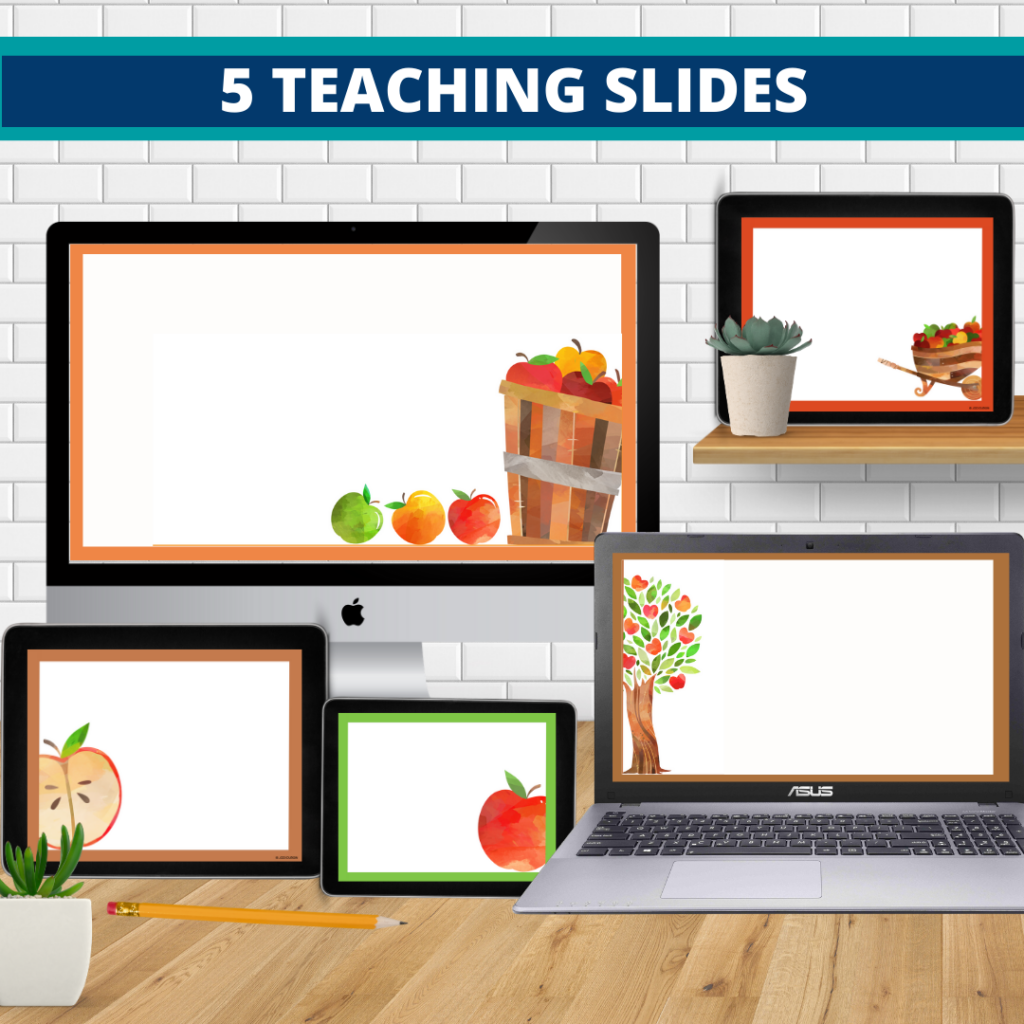 apple theme google classroom slides and powerpoint templates for elementary teachers shown on computers