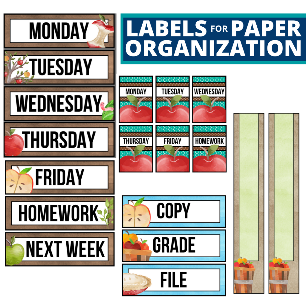 apple theme labels for paper organization in the classroom