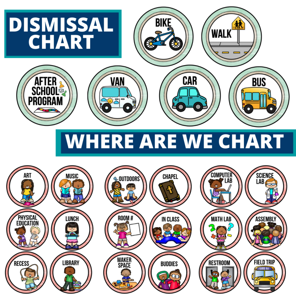 editable dismissal chart for elementary classrooms with an apple theme to improve classroom management