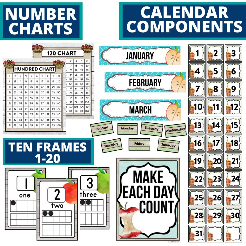 DIY printable classroom calendar for elementary teachers using apple classroom theme decor