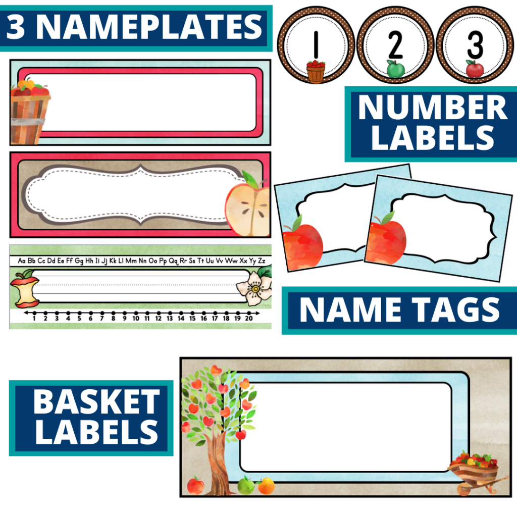 editable nameplates and basket labels for an apple themed classroom