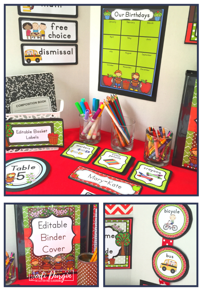 Classroom labels and signs with an apple theme.