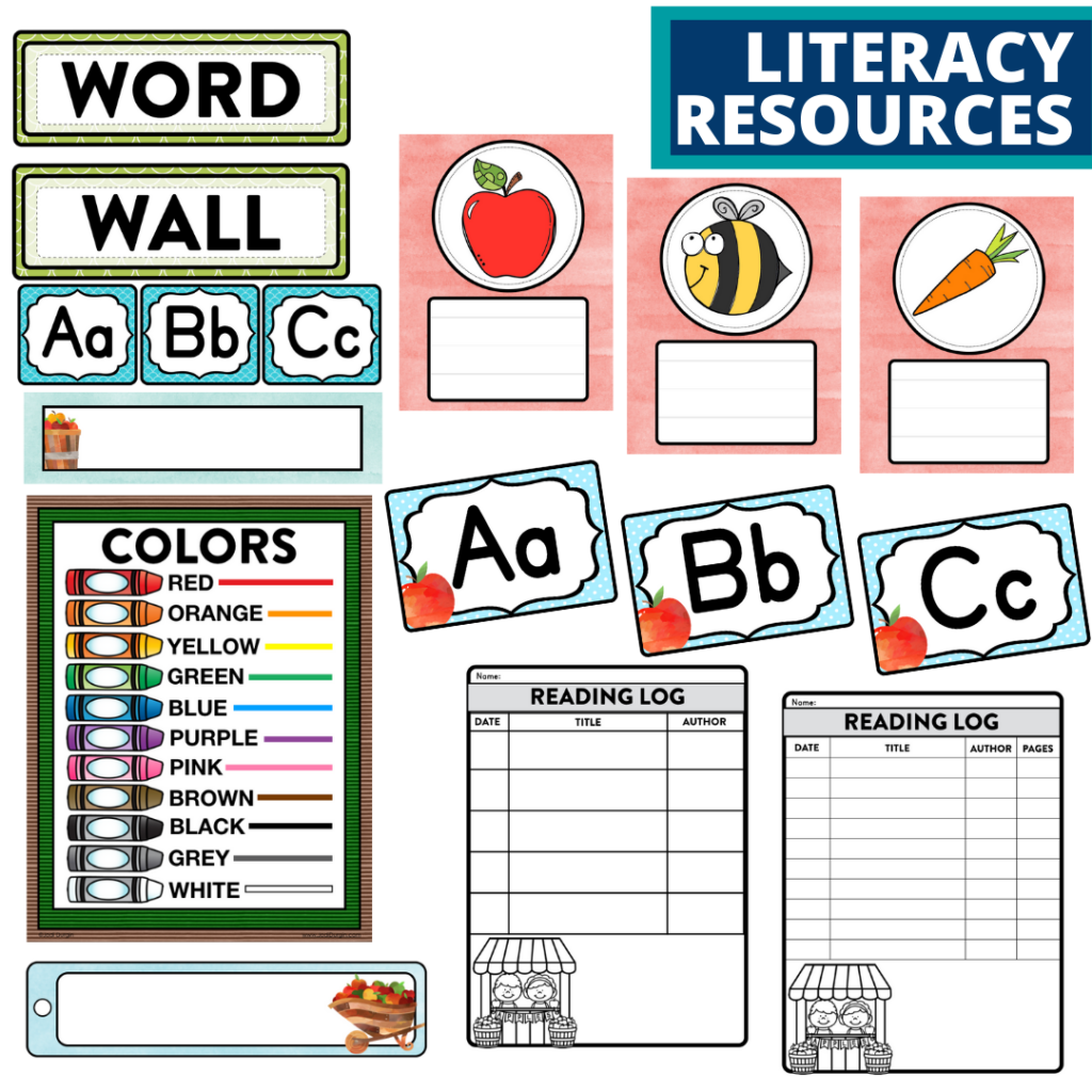 elementary classroom word wall and reading logs for an apple themed classroom
