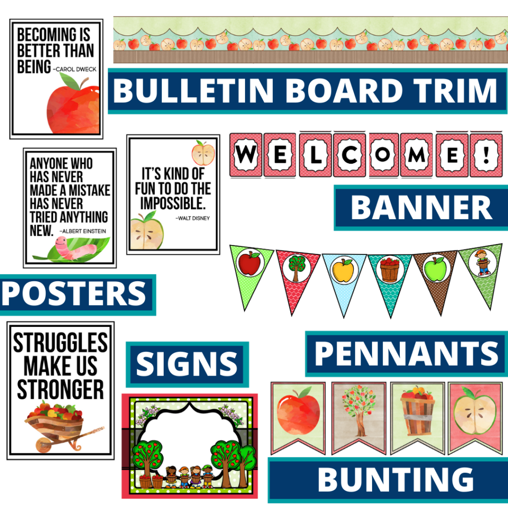 apple theme bulletin board trim with pennants, banner and bunting