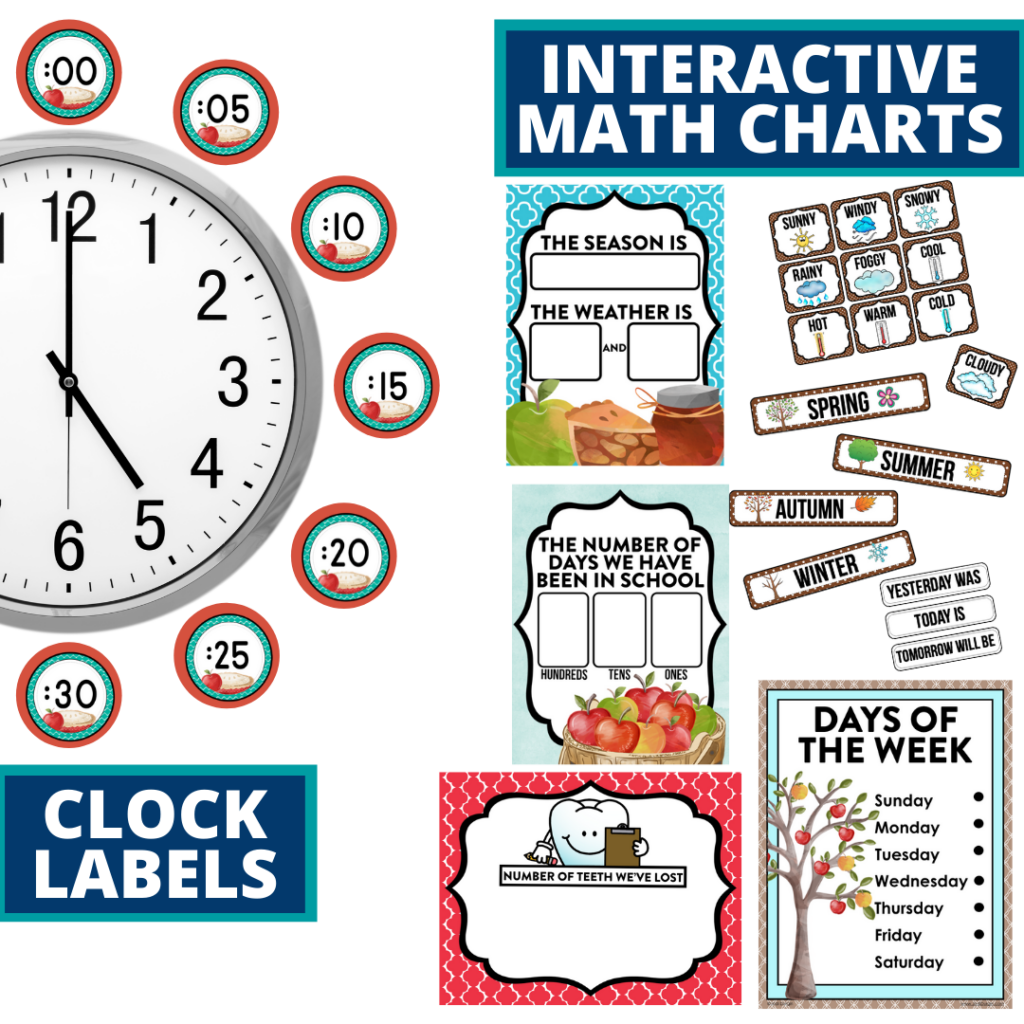 apple themed math resources for telling time, place value and the days of the week