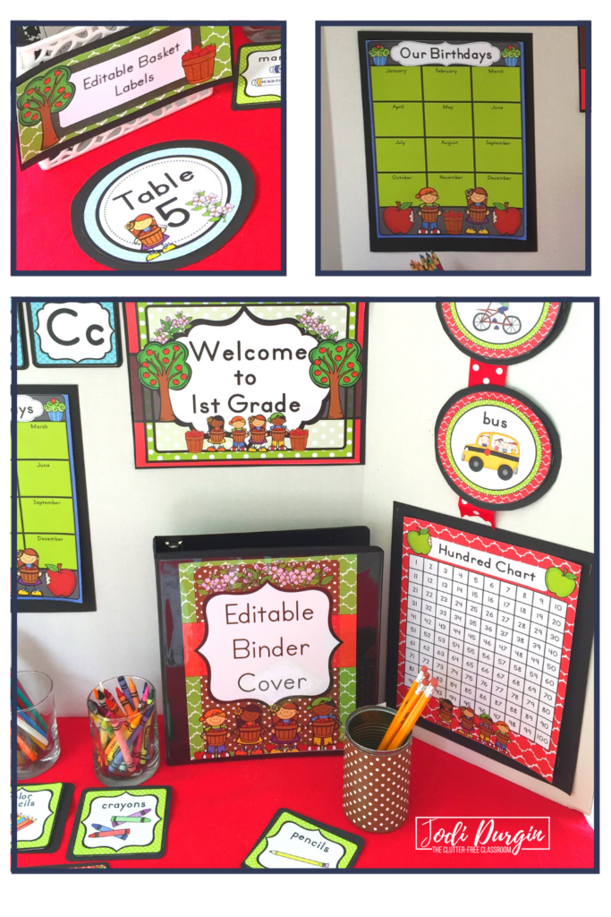 Welcome sign and teacher binder with an apple decor theme.
