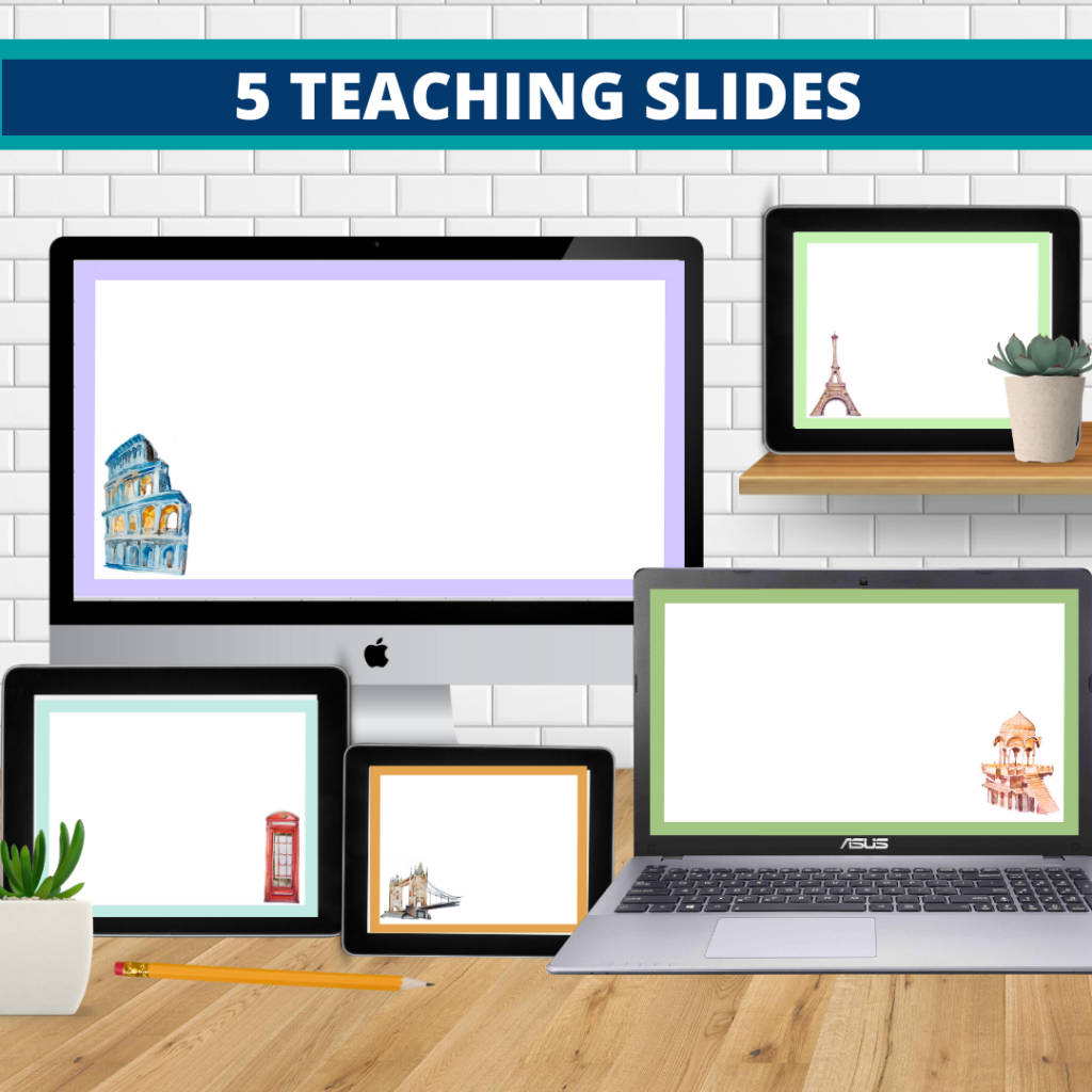 Around the World theme google classroom slides and powerpoint templates for elementary teachers shown on computers