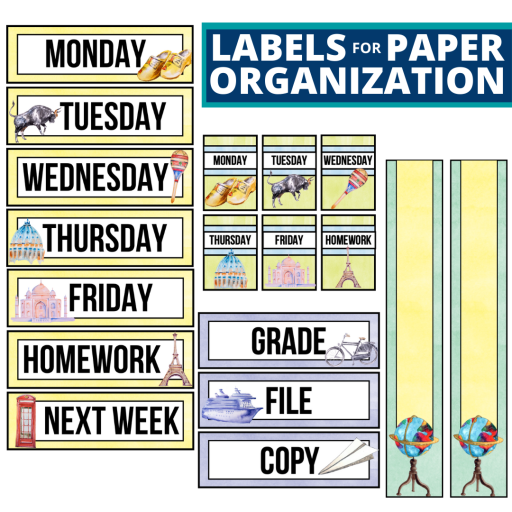 Around the World theme labels for paper organization in the classroom