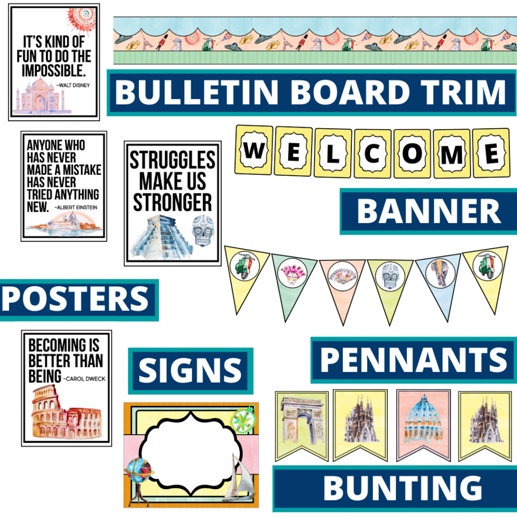 Around the World theme bulletin board trim with pennants, banner and bunting