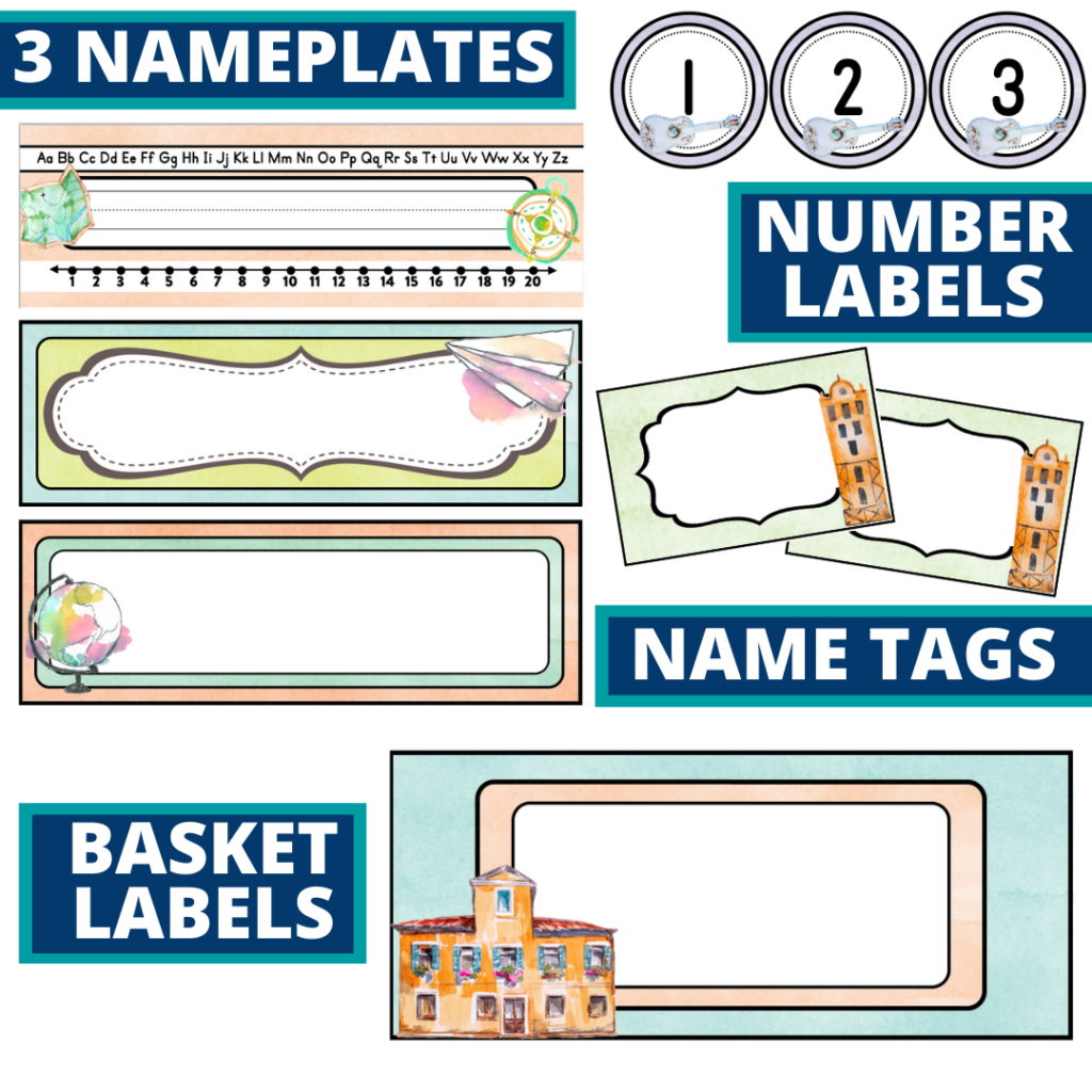 editable nameplates and basket labels for an Around the World themed classroom