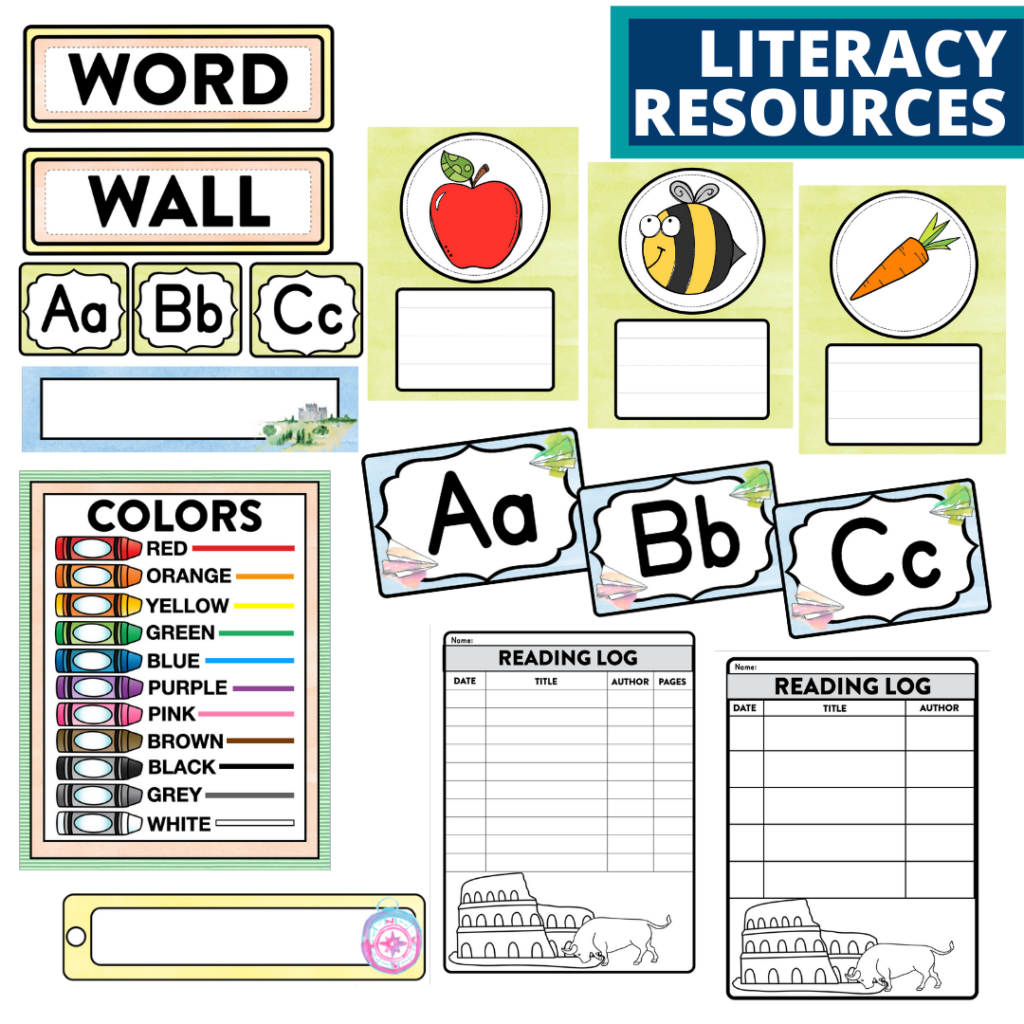 elementary classroom word wall and reading logs for an Around the World themed classroom