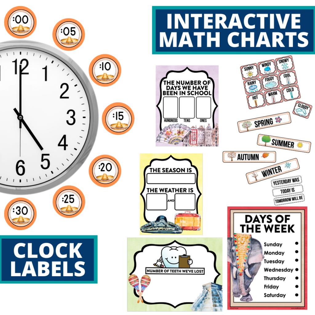 Around the World themed math resources for telling time, place value and the days of the week
