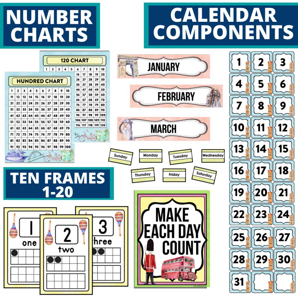 DIY printable classroom calendar for elementary teachers using an Around the World classroom theme