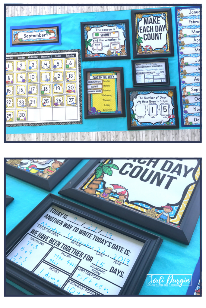 A calendar for a beach themed classroom.