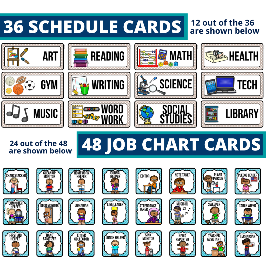 editable elementary schedule cards and job chart labels with a beach theme