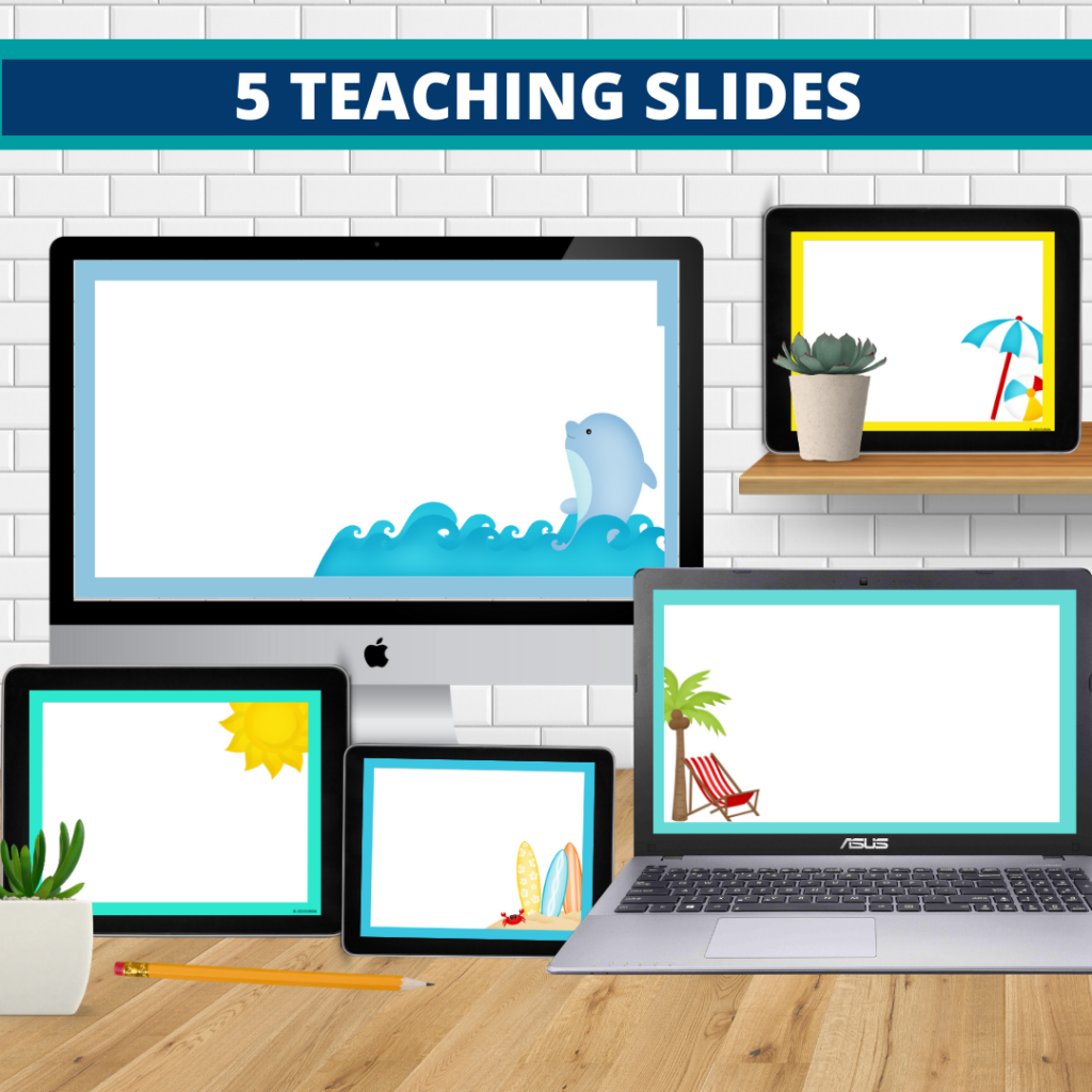 beach theme google classroom slides and powerpoint templates for elementary teachers shown on computers