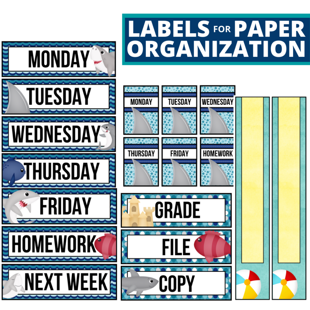 beach theme labels for paper organization in the classroom